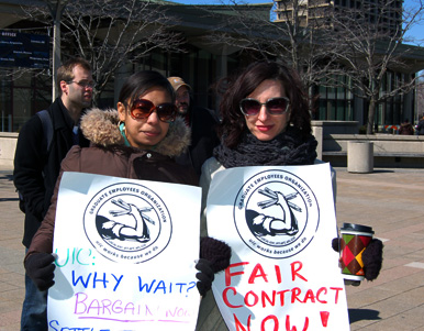People's World: Graduate workers at UIC rally. March 14, 2013